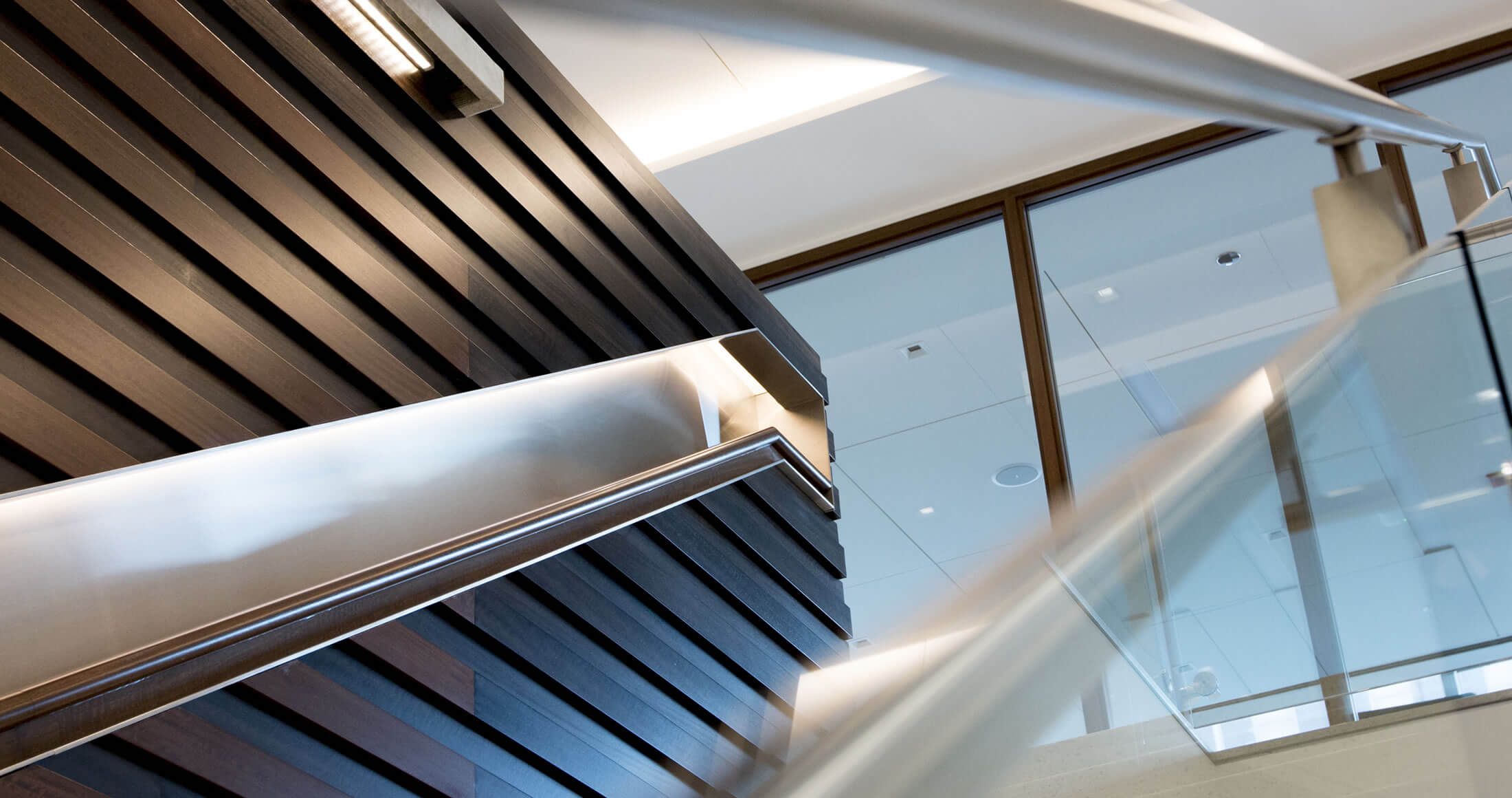 Looking up an internal staircase at Harris Associates