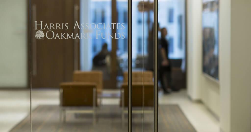 Glass lobby door at Harris Associates